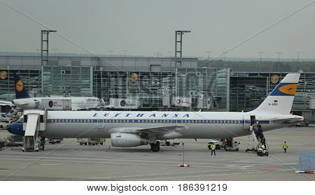 FRANKFURT, GERMANY - MAY 8, 2017: Lufthansa Airbus A321 in Retro livery on tarmac at Frankfurt Airport