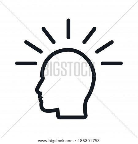 human head imagination thinking. flat vector illustration.