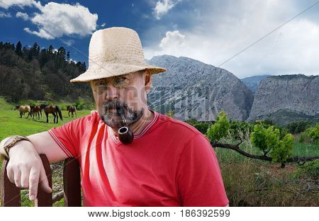 Farmer, a breeder of horses in the background of meadows and mountains with a vineyard