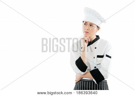 Asian Beautiful Female Chef Is Thinking