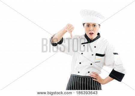Woman Chef Dislike And Showing Thumb Down