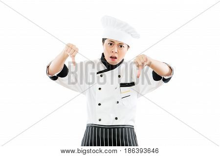 Woman Chef Showing A Dislike Hand Gesture