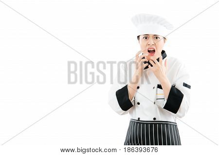 Angry Cook Woman Feel Crazy And Shouting