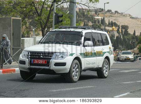 JERUSALEM, ISRAEL - APRIL 30, 2017: Israeli police car provides security in Jerusalem.