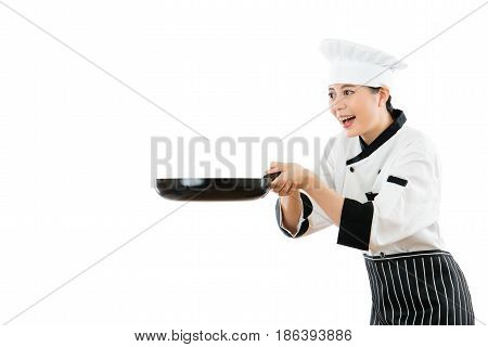 Asian Woman Chef Holding Black Pantry