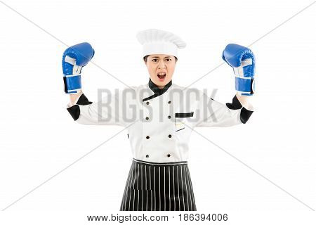 Strong Aggressive Cooking Chef Woman Concept