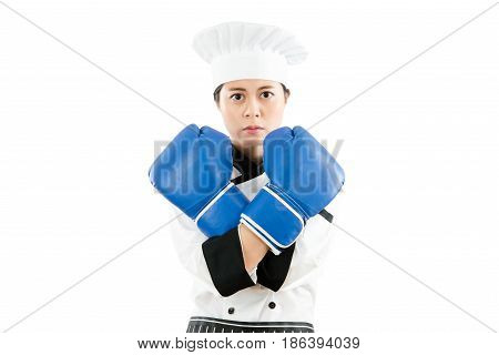 Cooking Woman In Boxing Gloves Cross Arms