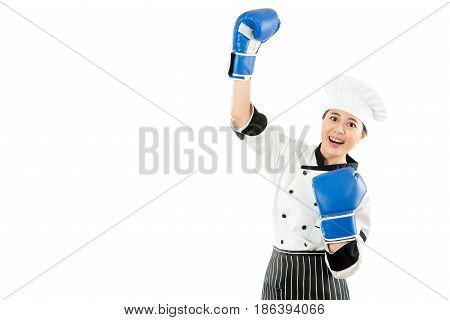 Winning Chef Celebrating Wearing Boxing Gloves