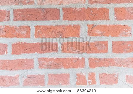 Red Brick Wall Texture with thick mortar grout