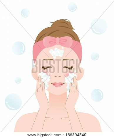 woman wash her face with rich lather