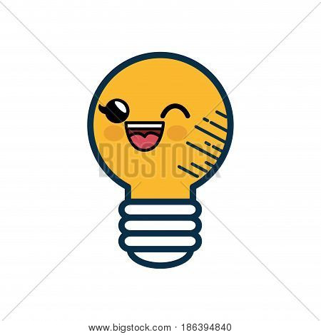 Kawaii bulb icon over white background. vector illustration
