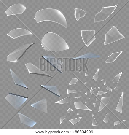 Realistic transparent shards of broken glass on checkered backdrop pieces sharp realistic 3d style vector illustration. Surface demolishing destruction damage transparent crash
