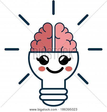 Kawaii bulb brain icon over white background. vector illustration