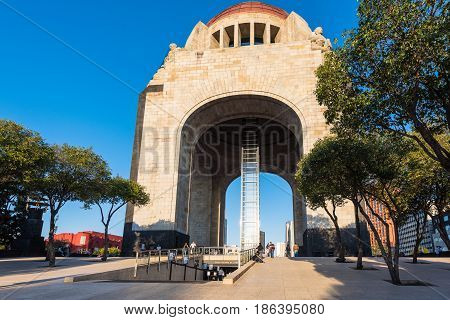 Mexico City, Mexico - April 20, 2017: Monument to the Mexican Revolution (Monumento a la Revolución) located in Republic Square, Mexico City
