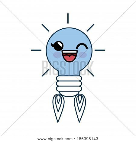 Kawaii bulb rocket icon over white background. vector illustration