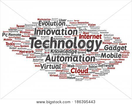 Concept or conceptual digital smart technology, innovation media word cloud isolated background. Collage of information, internet, future development, research, evolution or intelligence text