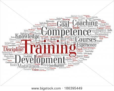 Concept or conceptual training, coaching or learning, study word cloud isolated on background. Collage of mentoring, development, motivation skills, career, potential goals or competence text