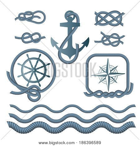 Marine symbols - a compass, an anchor, a rope knot, a rope. Vector illustration.