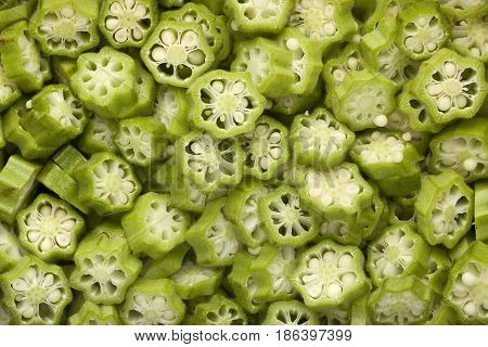 Closeup of a lot of sliced okra