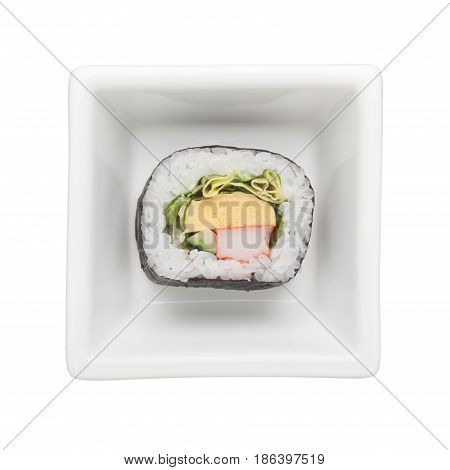 Futomaki in a square bowl isolated on white background