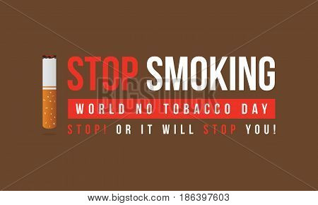 No tobacco day vector flat style banner collection stock