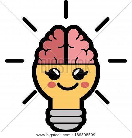 kawaii bulb brain icon over white background. colorful design. vector illustration