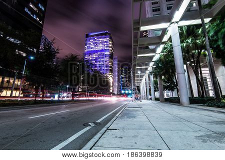 Brickell Avenue in Miami street view at night