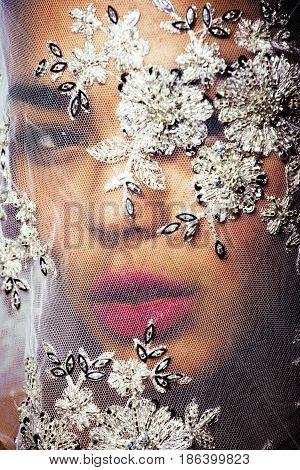 sensual portrait of beauty young afro asian woman through white lace, like new bride under veil close up