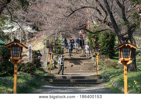 Fujiyoshida, Yamanashi, Japan : Apr 14,2017 - Many Tourists Come To Visit The Famous Shrine At Araku