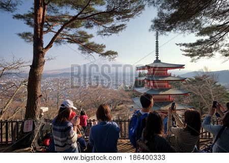 Yamanashi, Japan : April 14,2017 - People Come To Visit Chureito Pagoda In Fujiyoshida City, Is Famo