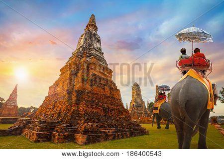 Wat Chaiwatthanaram temple at  Ayuthaya Historical Park, a UNESCO world heritage site in Thailand