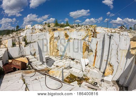 Old Abandoned Marble Quarry In Buguldeika, Baikal