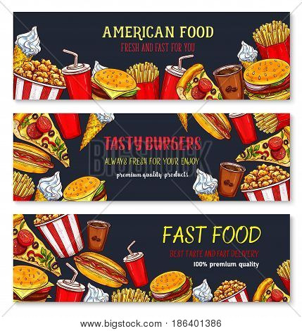 Fast food vector banners set of burgers, pizza or hot dogs and donuts. Fastfood restaurant french fries snacks and chicken grill nuggets or wings, cheeseburger burger sandwich and ice cream dessert