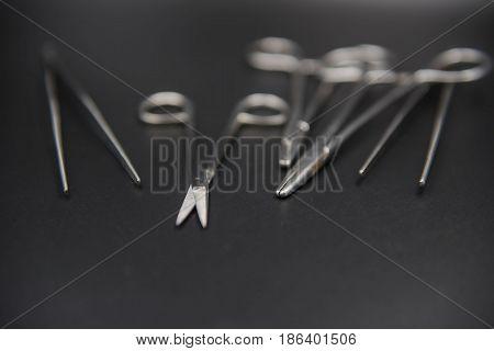 Medical equipment on a black background. Medical concept .