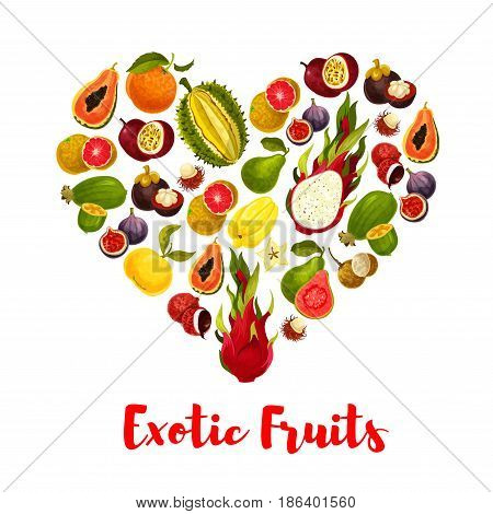Heart with exotic fruits. Fresh tropical orange, papaya, feijoa, dragon fruit, carambola and guava, lychee and passion fruit, fig, durian and rambutan, mangosteen and tamarillo. Food, drink design