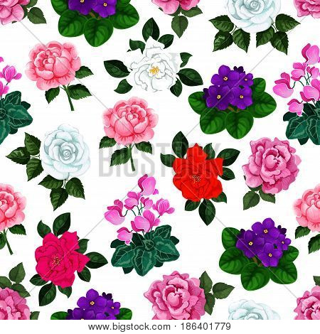 Spring flowers pattern of floral bouquets. Seamless vector design of roses, viola blossoms and flourish begonia petals or garden crocuses and irises. for springtime desing or interior tile