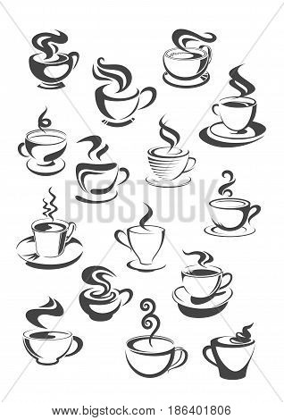 Cup of coffee isolated icon set. Cup and mug of fresh brewed coffee, espresso, cappuccino or mocha with saucer and swirl of steam. Cafe or coffee shop menu, food and drink themes design