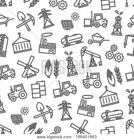 Industry seamless pattern of vector heavy or light and food or oil industrial symbols of machinery and agriculture farming, building, construction building and transportation