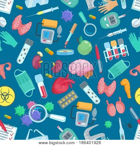 Medical seamless pattern of medicine treatments and human organs. Vector healthcare items of syringe, stethoscope and surgery scalpel. Pills and viruses test of heart, bladder or testicles and kidneys