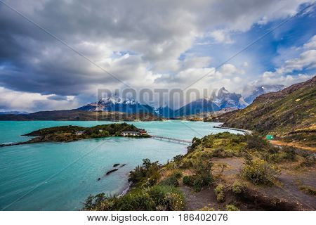 Picturesque lake Pehoe with a small island. Chile, Patagonia. Torres del Paine National Park - Biosphere Reserve