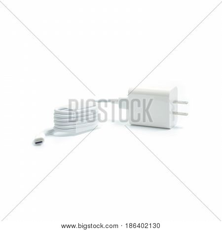 White Electric Usb Cable For Cellphone Recharge Isolated On White Background