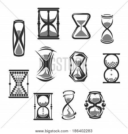 Hourglass isolated icon set. Sandglass, sand clock, watch or timer grey silhouettes, vintage time measurement instruments for time or countdown concept design