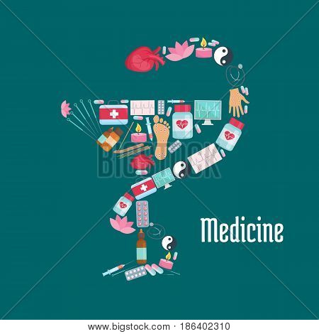 Medicine symbol of snake with cup, made up of pill, syringe, stethoscope, human heart, first aid kit, ecg monitor, acupuncture needle, hand, foot, aromatherapy essential oil and Yin Yang icons
