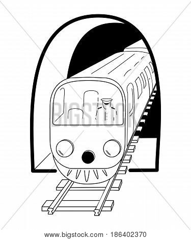 Subway train coming out of the tunnel. Hand drawn black and white sketch. Vector eps 10 illustration.