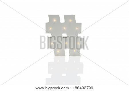 Decorative Hash Symbol With Embedded Led Lights Over White Background