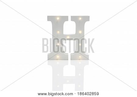 Decorative Letter H With Embedded Led Lights Over White Background