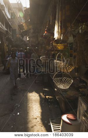 DELHI INDIA - JUN 6 : scene of marketplace in small alleyway in old delhi of delhi on june 6 2015 india.