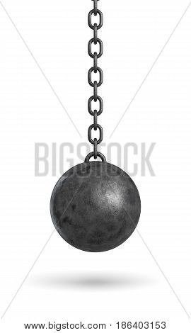 3d rendering of an ink black wrecking ball hanging from a chain isolated on white background. Restrictions and problems. Slavery. Bounds and obligations.