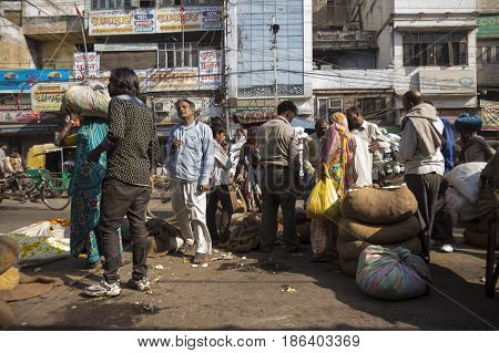 DELHI INDIA - MAR 21 : crowd of people in morning market at spice market in old delhi of Delhi on march 21 2015.