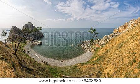 Baikal Lake in summer. Olkhon Island. Sundays Outdoors. Shamanka Rock.